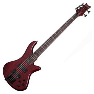 Schecter Stiletto Custom-5 Bass Guitar, Vampyre Red Satin