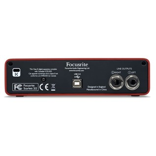 Focusrite Scarlett Studio with LTD sE Reflexion Filter Pro - Interface Rear