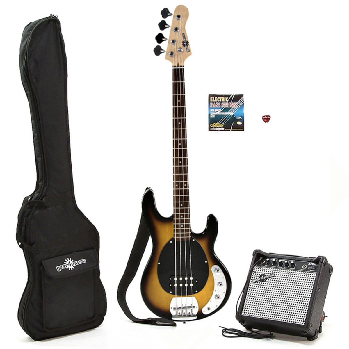 electric g4m m bass guitar amp pack two tone burst at. Black Bedroom Furniture Sets. Home Design Ideas