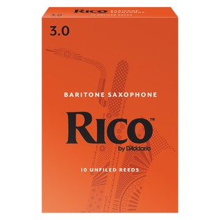 Rico by D'Addario Baritone Saxophone Reeds 3.0 Strength, Pack of 10