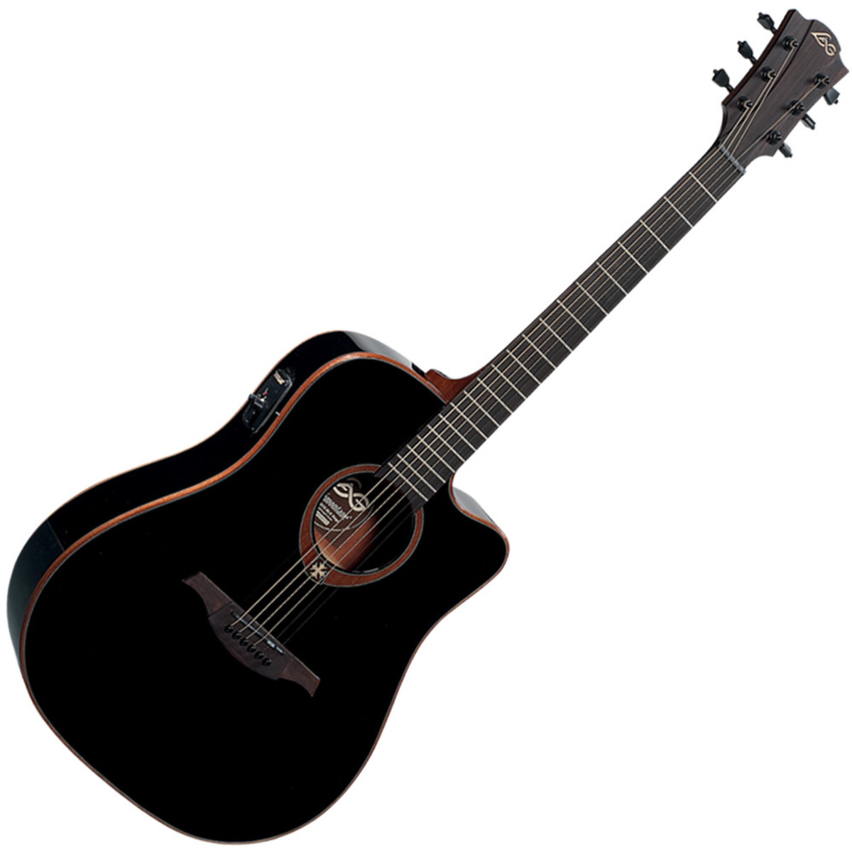 lag t100dce dreadnought cutaway electro acoustic guitar black b stock at. Black Bedroom Furniture Sets. Home Design Ideas