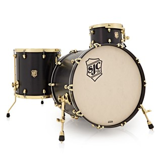 SJC Drums Tour Series 3 Piece Shell Pack, Black Satin Stain Brass HW