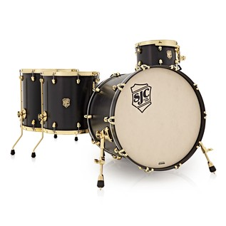 SJC Drums Tour Series 4 Piece Shell Pack , Black Stain, Brass HW