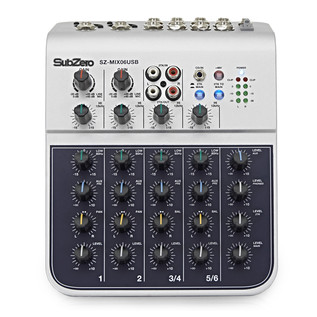 SubZero SZ-MIX06USB 6-Channel Mini Mixer with USB by Gear4music