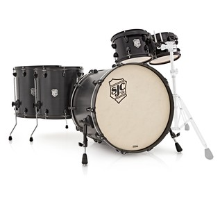 SJC Drums Tour Series 5 Piece Shell Pack, Black Stain, Black HW