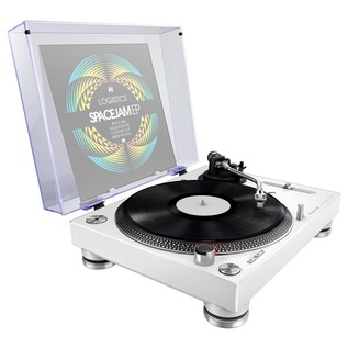 Pioneer PLX-500 Direct Drive Turntable, White - Angled With Dust Cover (Vinyl Not Included)