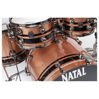 Natal 4 Piece Split Lacquer Birch, Champagne Sparkle w/ Black Inlays