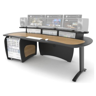 AKA Design ProEdit Studio Desk with 12U Rack, Blue and Maple - Front Angled