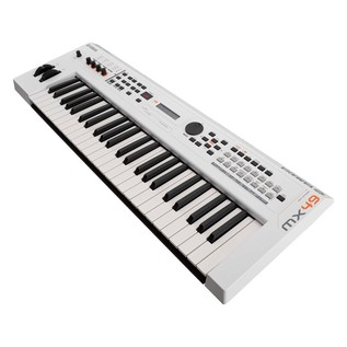 Yamaha MX49 II with Stand and Headphones, White - MX49 II Angled