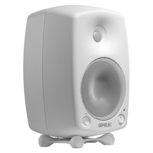 Genelec 8030B Bi-Amped Studio Monitor, White (Single) - Angled