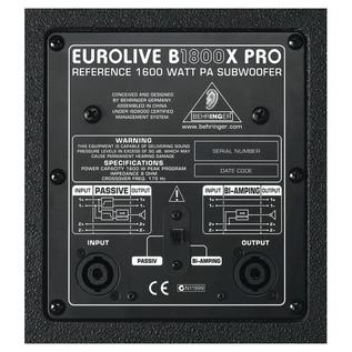 Behringer B1800X Eurolive Pro Passive Subwoofer back panel