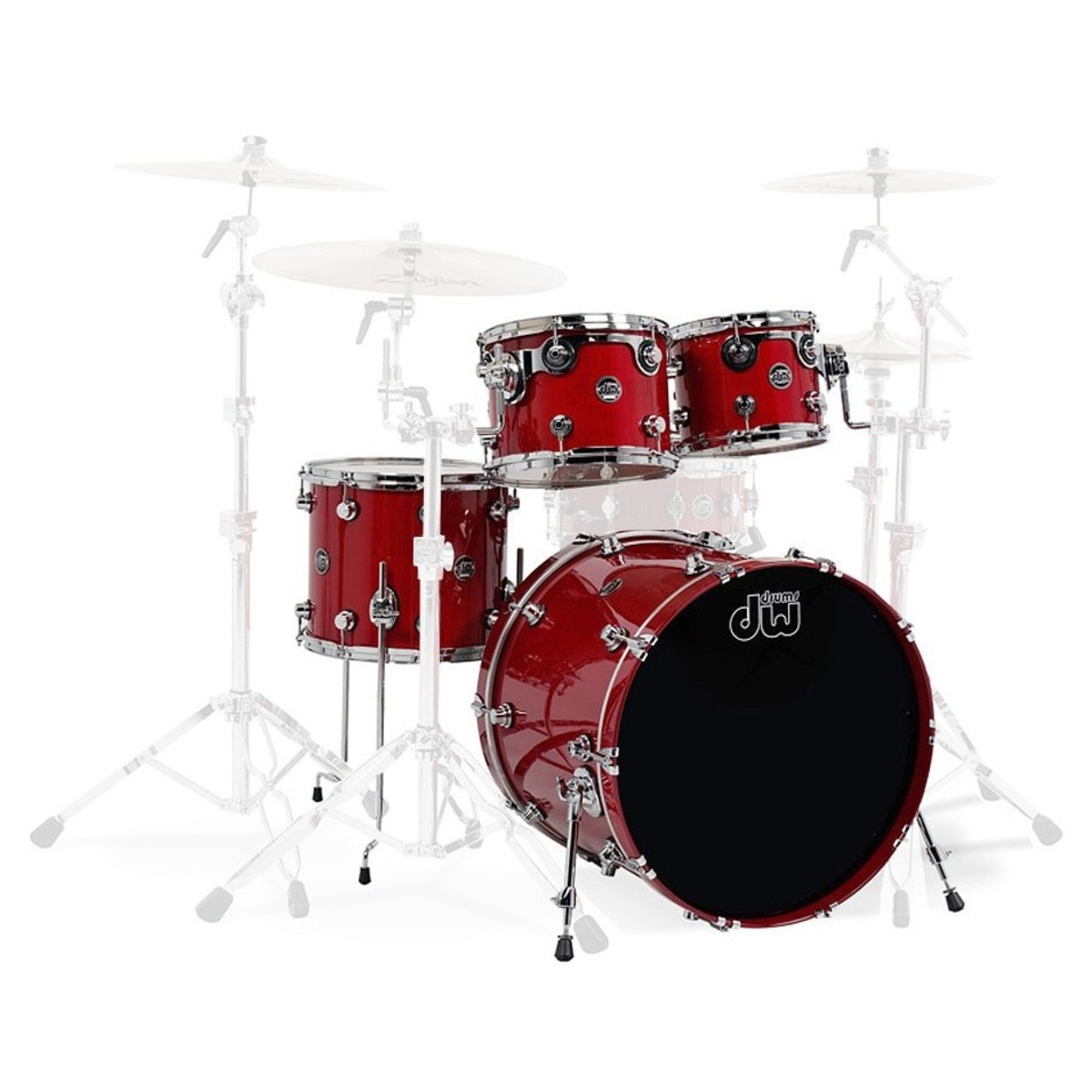 dw drums performance series 22 4 piece shell pack candy apple red at. Black Bedroom Furniture Sets. Home Design Ideas