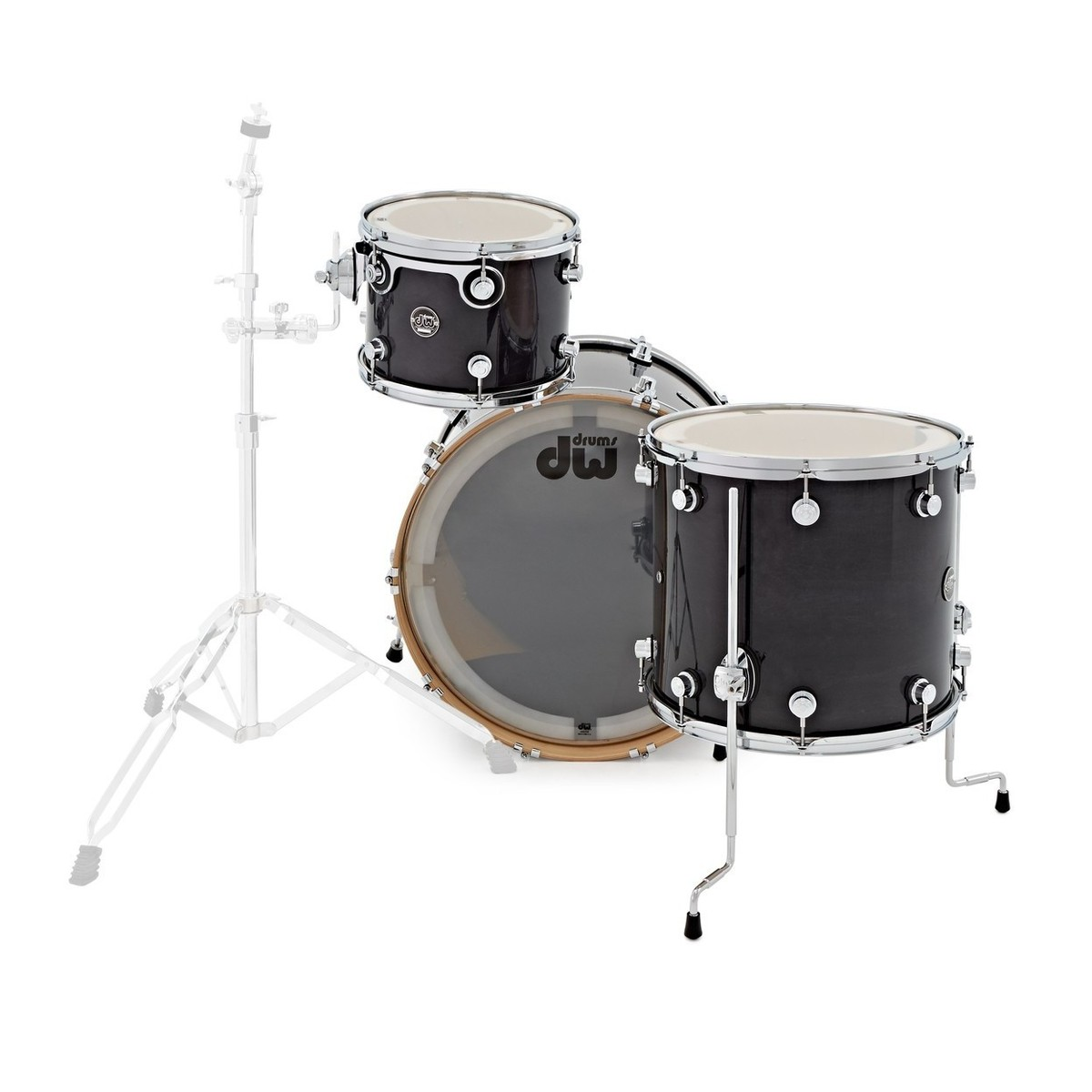 dw drums performance series 24 3 piece shell pack ebony stain at. Black Bedroom Furniture Sets. Home Design Ideas