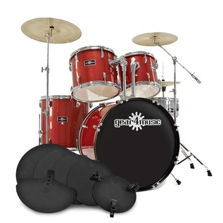GD-7 Drum Kit + Practice Pack, Red Sparkle
