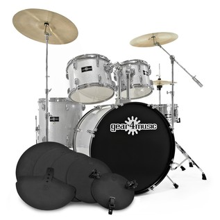 GD-7 Fusion Drum Kit + Practice Pack, Silver Sparkle