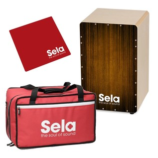 Sela Varios Pre Assembled Cajon Bundle Brown With Bag and Cajon Pad