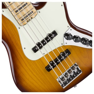 Fender American Elite Ash Jazz 5 String Bass V MN, Tobacco Sunburst