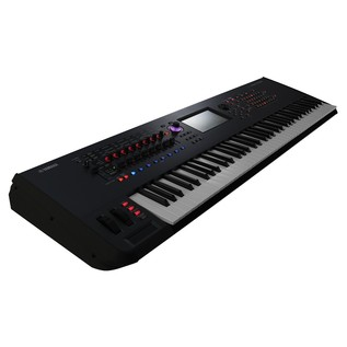 Yamaha MONTAGE 7 with Headphones and Stand - Keyboard Angled