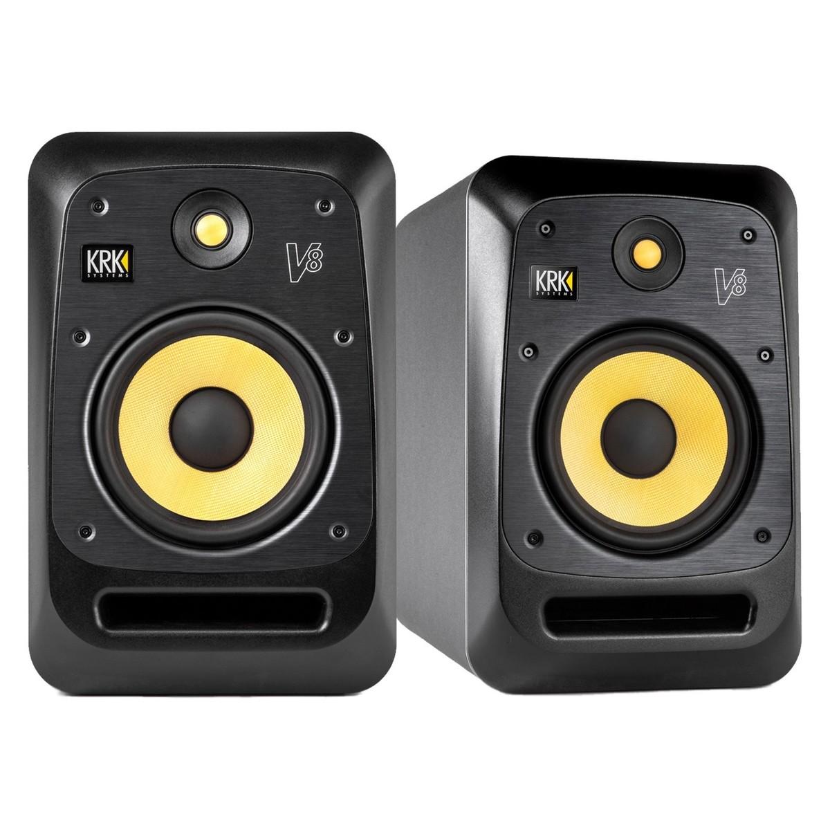 krk v8s4 studio monitor with stands pair at. Black Bedroom Furniture Sets. Home Design Ideas