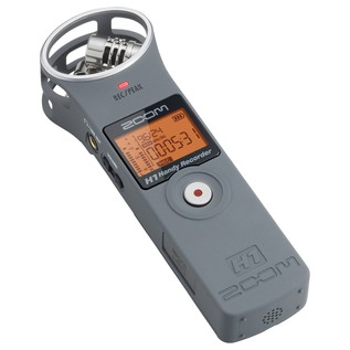 Zoom H1 Recorder with Accessory Pack, Matte Grey - Angled Flat