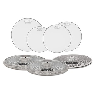 WHD Practice Drum Heads and Cymbals - 4 Piece Fusion Pack