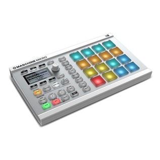 Native Instruments Maschine Mikro MK2 with Komplete 11 ULT, White - Mikro Angled 2