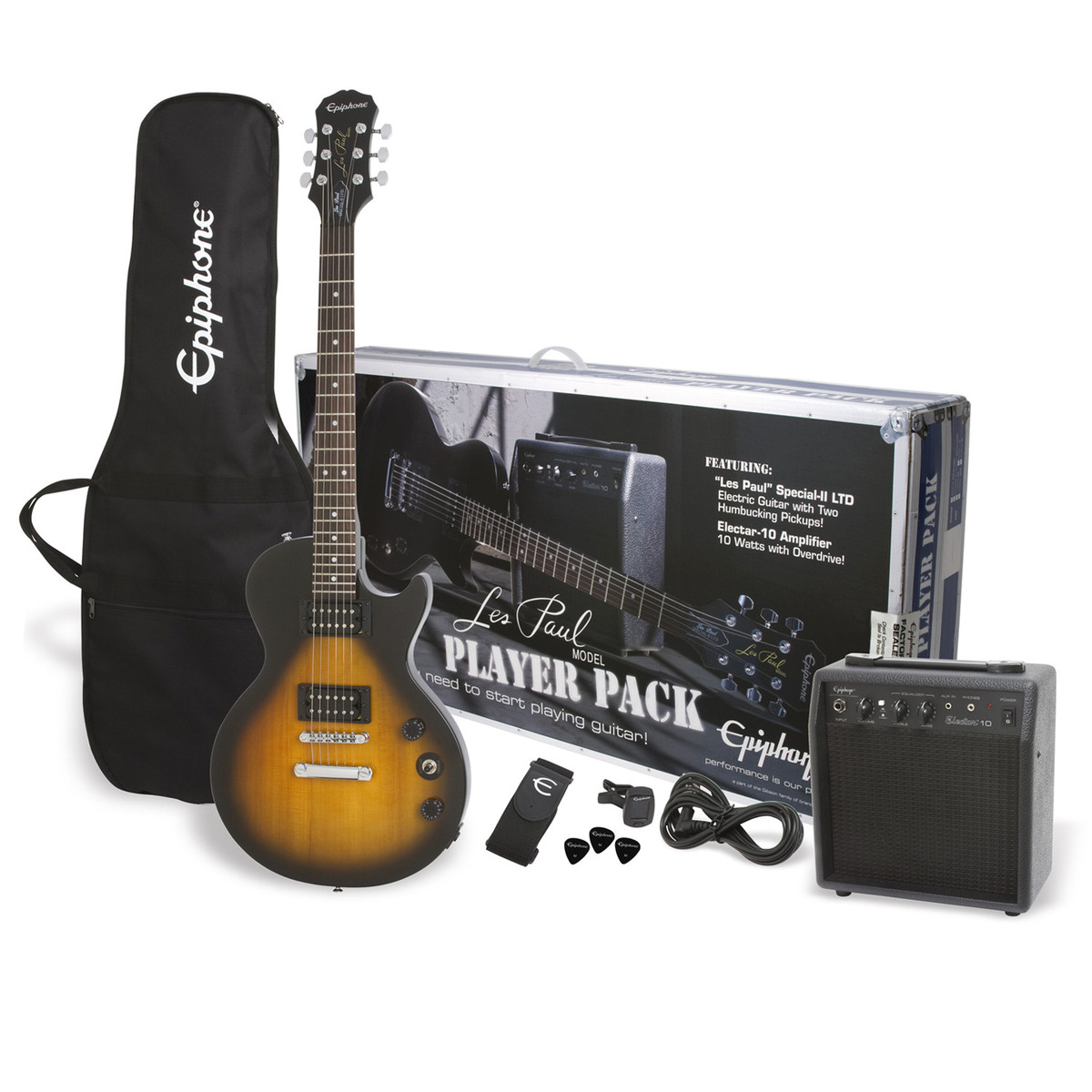 epiphone les paul electric guitar player pack vintage sunburst box opened at. Black Bedroom Furniture Sets. Home Design Ideas