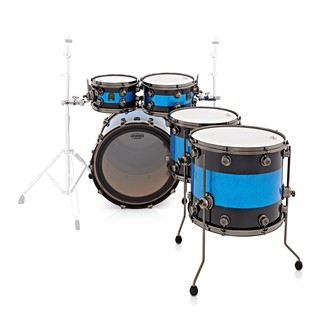 Natal Split Lacquer 5pc Maple Shell Pack, Black w/ Blue Sparkle Inlay