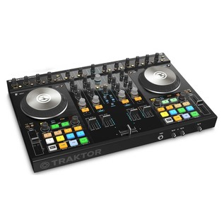 Native Instruments Traktor Kontrol S4 MK2 with Denon DN-308 Monitors - Kontrol Angled