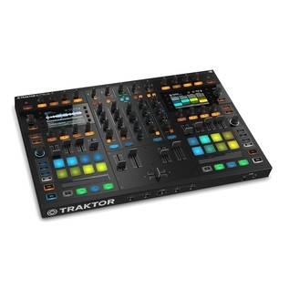 Native Instruments Traktor Kontrol S8 with Denon DN-308 Monitors - Kontrol Angled
