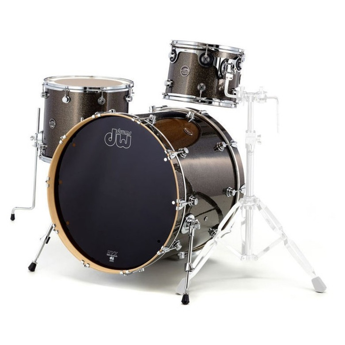 dw drums performance series 22 3 piece shell pack pewter sparkle at. Black Bedroom Furniture Sets. Home Design Ideas