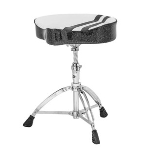 Mapex T756W Stool, Saddle Top, Threaded Base, White with Black Strip