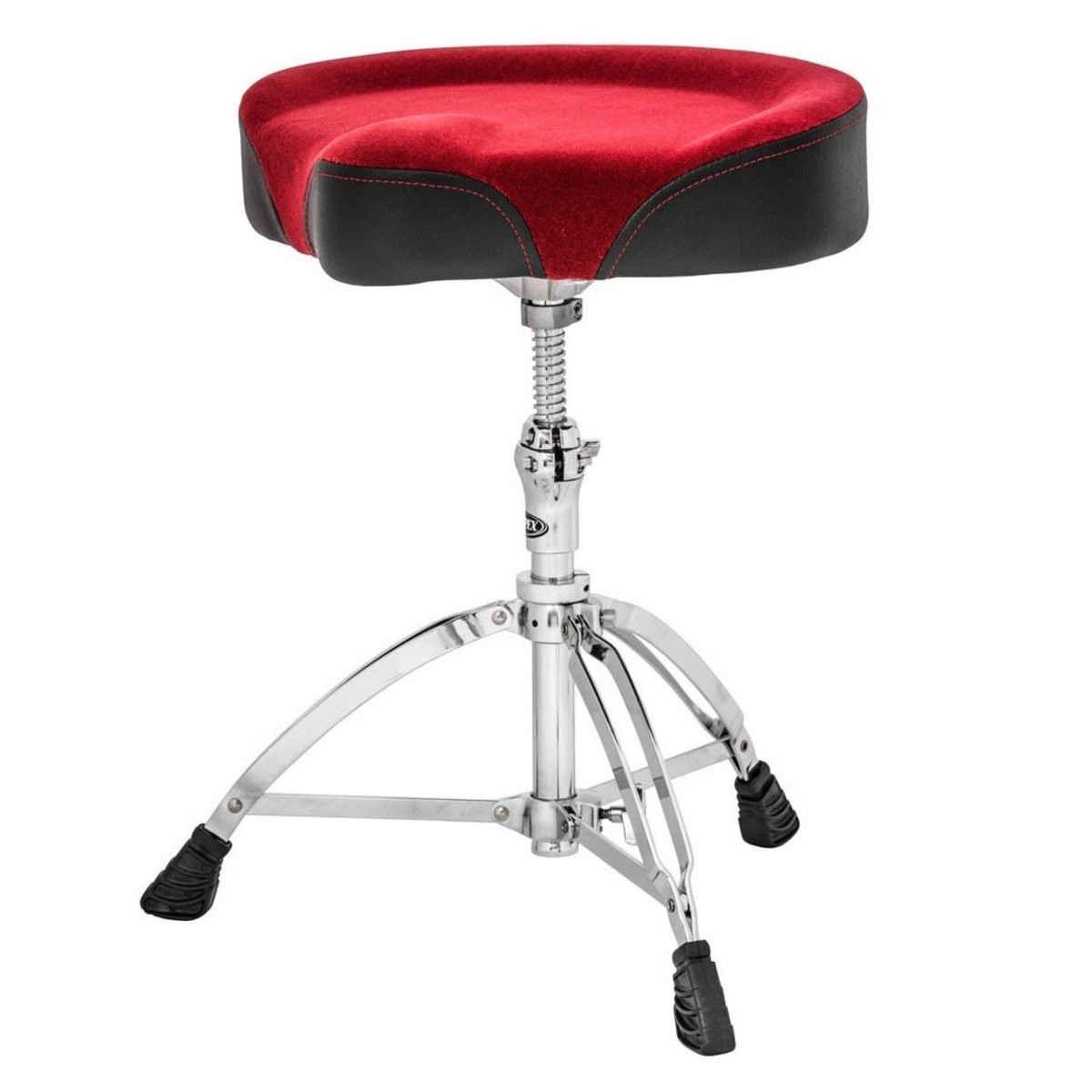 Image of Mapex T765A Drum Stool Saddle Cloth Top Threaded Base Burgundy