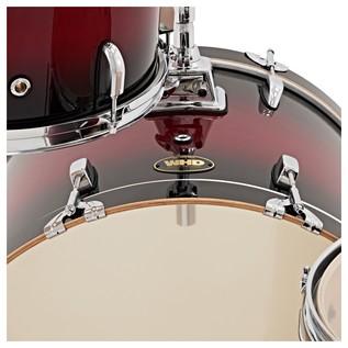 WHD Birch 4 Piece Rock Complete Drum Kit, Red Burst