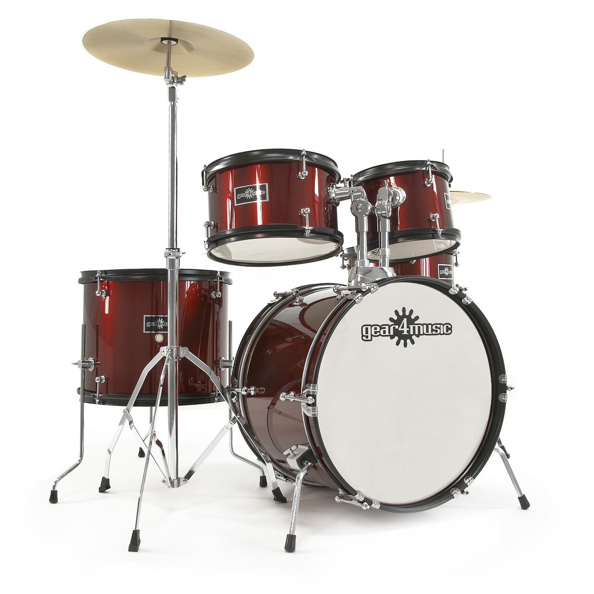Junior 5 Piece Drum Kit By Gear4music Wine Red B Stock