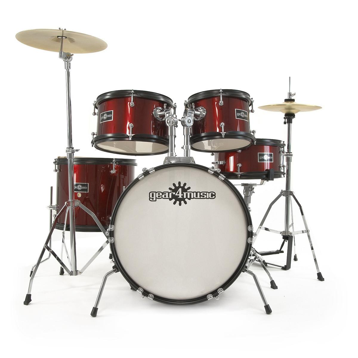 Junior 5 Piece Drum Kit By Gear4music Wine Red B Stock