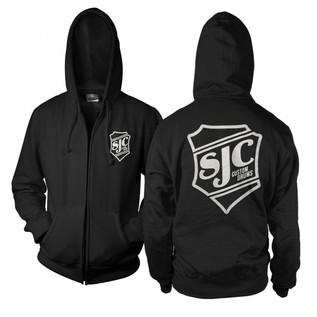 SJC Custom Drums Zip Up Hoodie Black with white Breast Print, Large