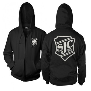 SJC Custom Drums Zip Up Hoodie Black with white Breast Print, XXL