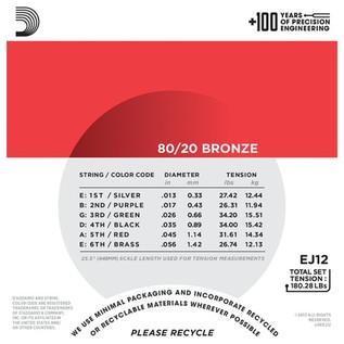 DAddario EJ12 80/20 Bronze Acoustic Guitar Strings, Medium, 13-56