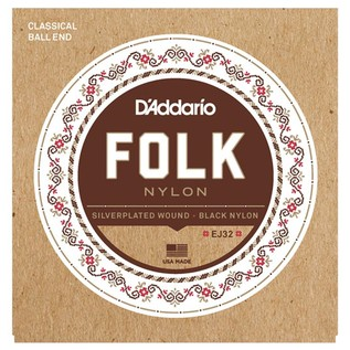 D'Addario EJ32 Folk Nylon Classical Guitar Strings with Ball End