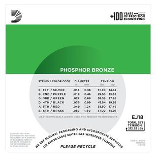 D'Addario EJ18 Phosphor Bronze, Heavy, 14-59