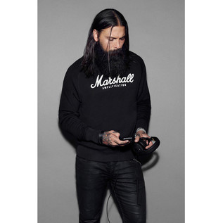 Marshall Crewneck Sweatshirt, Script Logo Graphic, Unisex Small