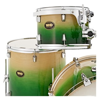 WHD Birch 5 Piece American Fusion Drum Kit, Green Fade