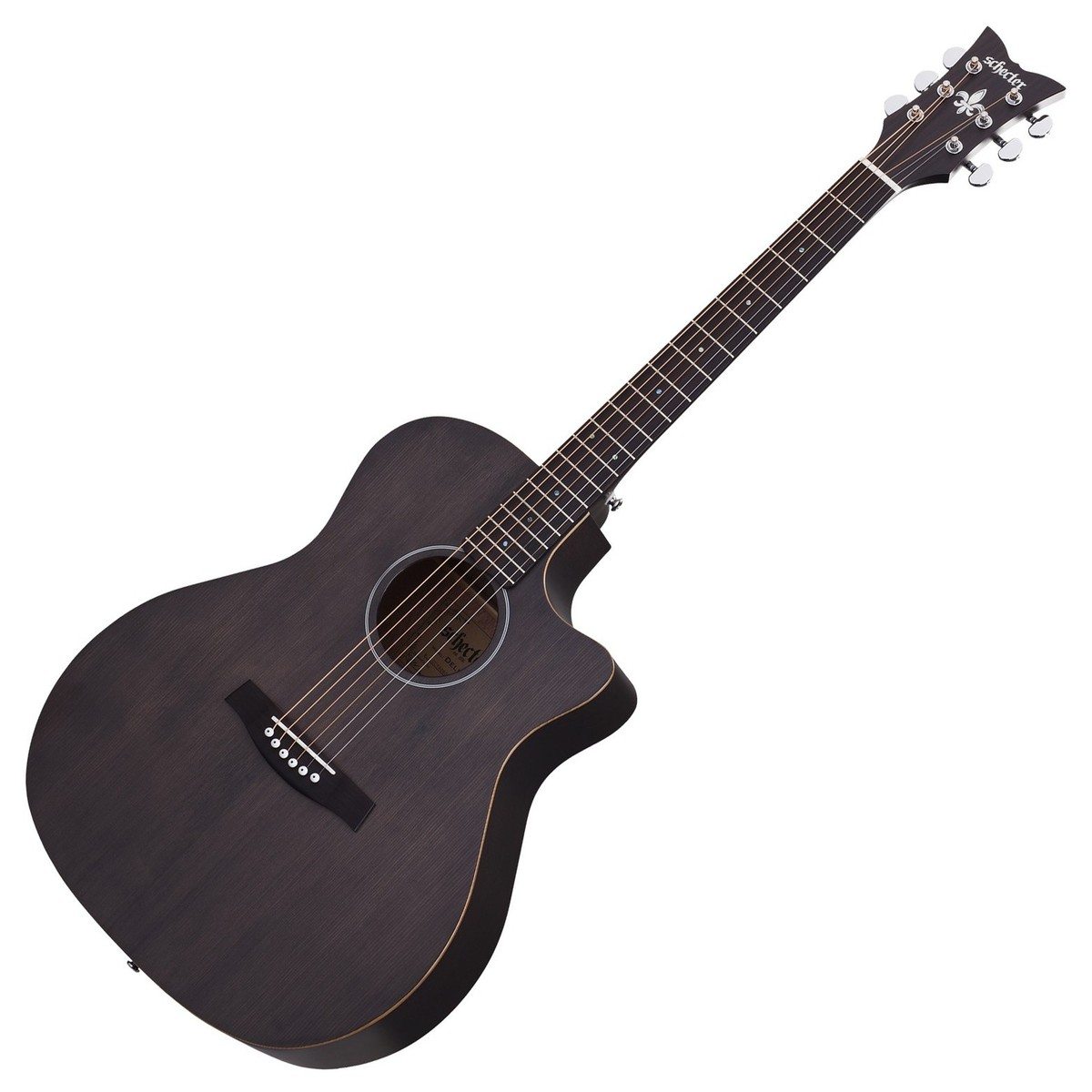 schecter deluxe acoustic guitar satin see thru black at. Black Bedroom Furniture Sets. Home Design Ideas