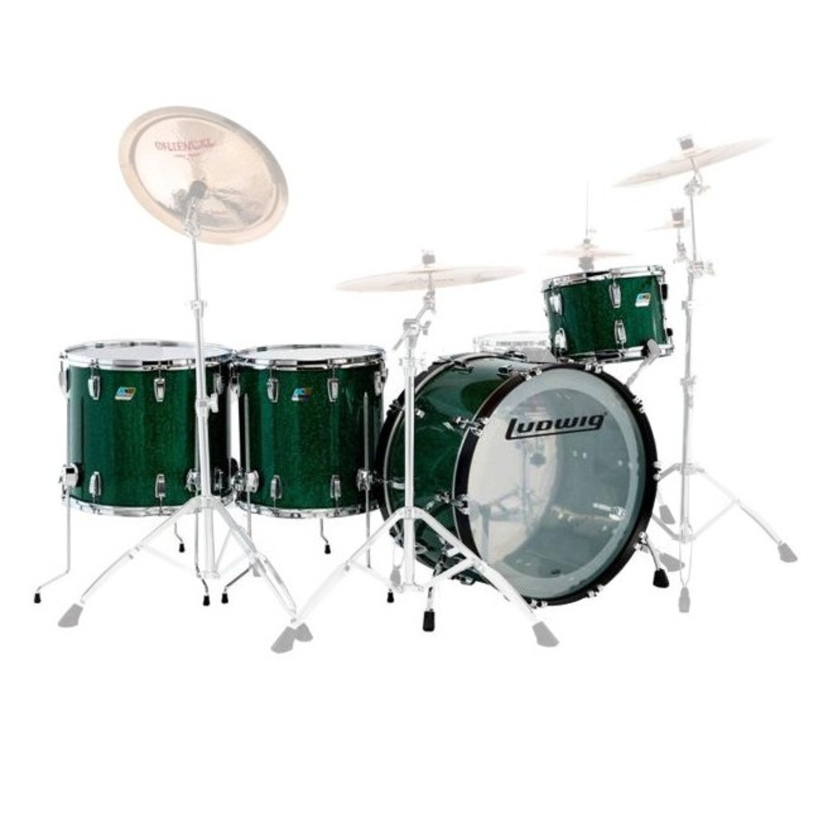 "Ludwig Vistalite Pro Beat 24"" 4pc Shell Pack Green Sparkle"