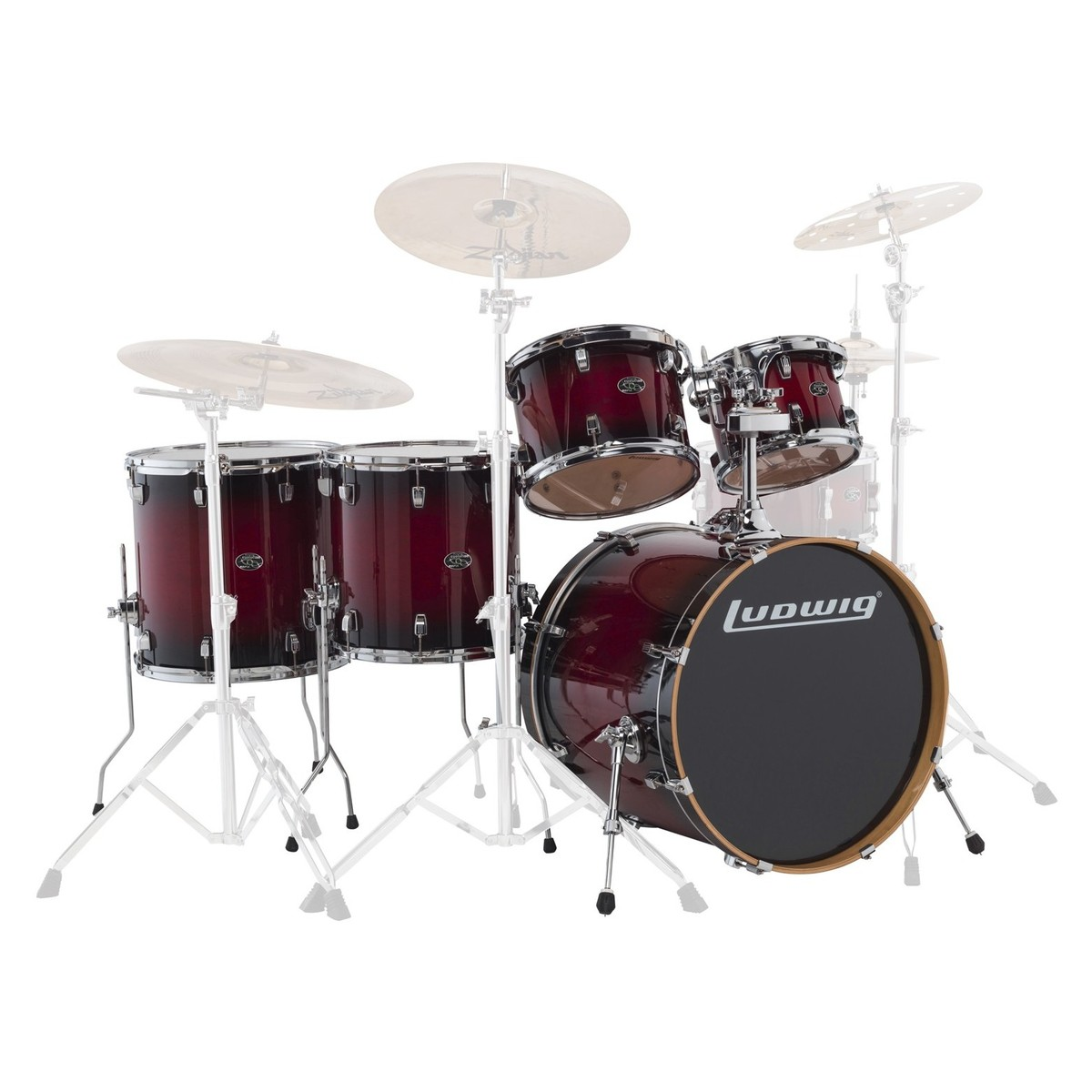 "Ludwig Element Evolution 22"" 5pc Maple Shell Pack Red Fade"