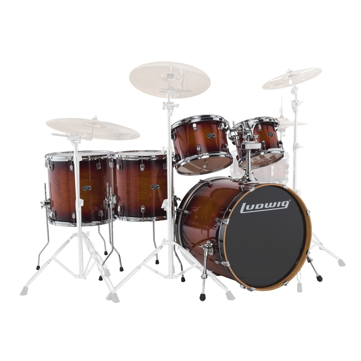 "Ludwig Element Evolution 22"" 5pc Maple Shell Pack Mahogany Burst"