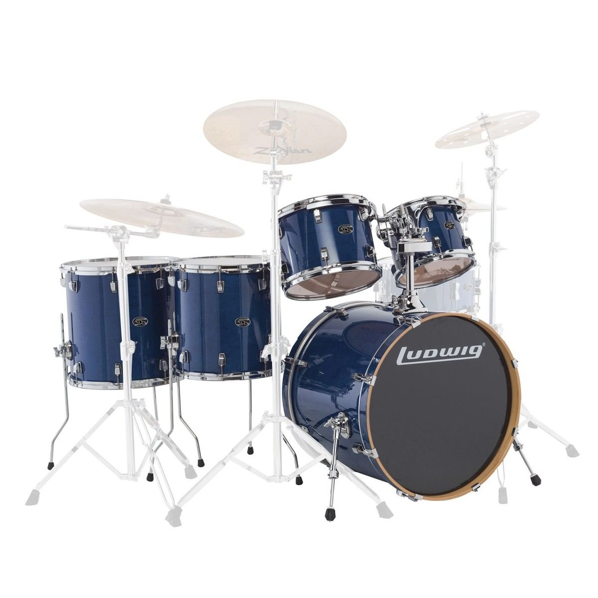 "Ludwig Element Evolution 22"" 5pc Maple Shell Pack Trans Blue"