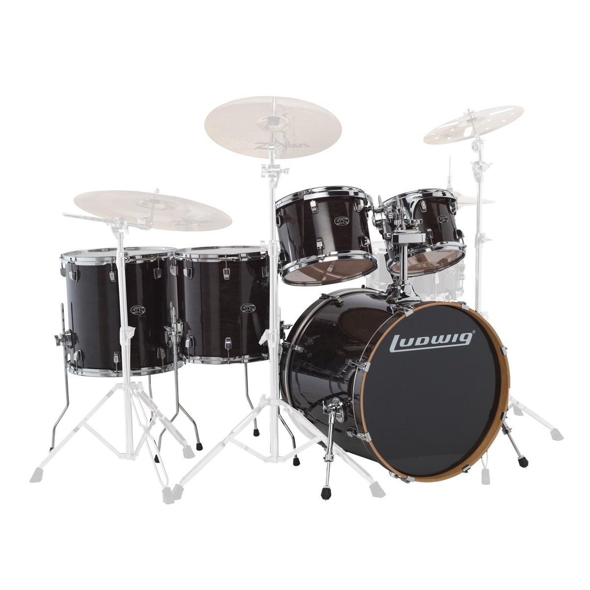 "Ludwig Element Evolution 22"" 5pc Maple Shell Pack Trans Black"