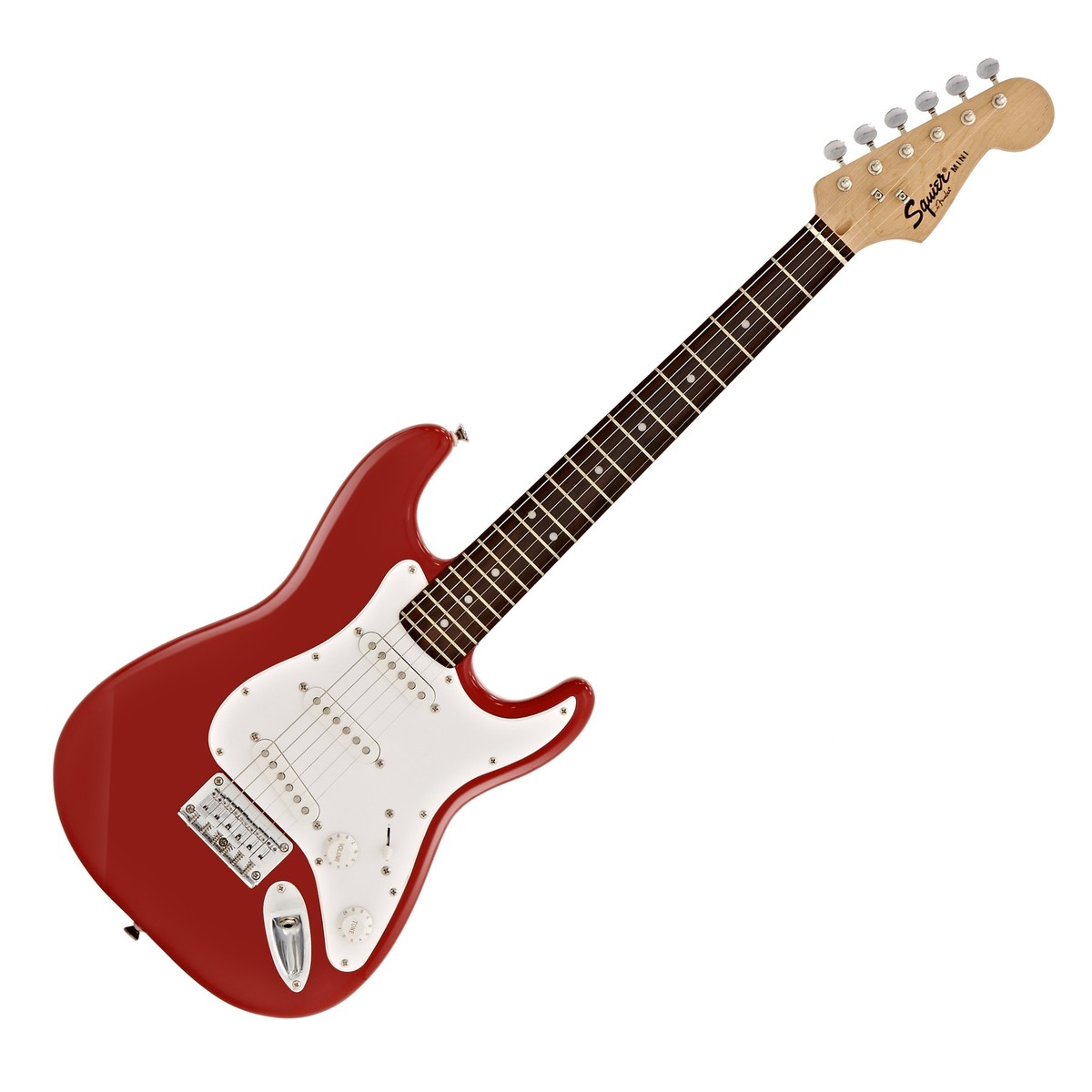 squier by fender mini stratocaster 3 4 size electric guitar red at. Black Bedroom Furniture Sets. Home Design Ideas